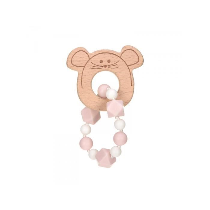 Lassig - Bracelet de dentition Bois-Silicone Little Chums Souris - rose