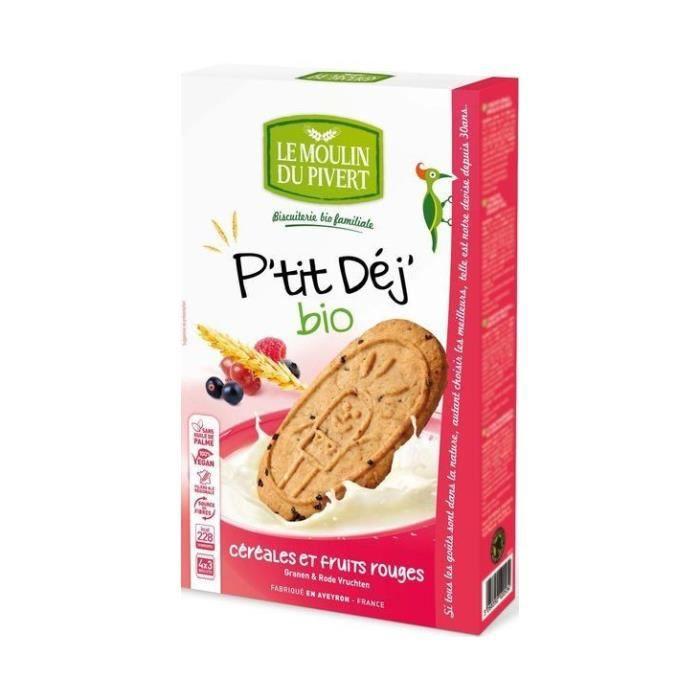 LE MOULIN DU PIVERT - Biscuits P tit Déj Céréales & Fruits rouges bio & vegan 190 g - 12 biscuits - Sans huile de palme - Fabriqu...