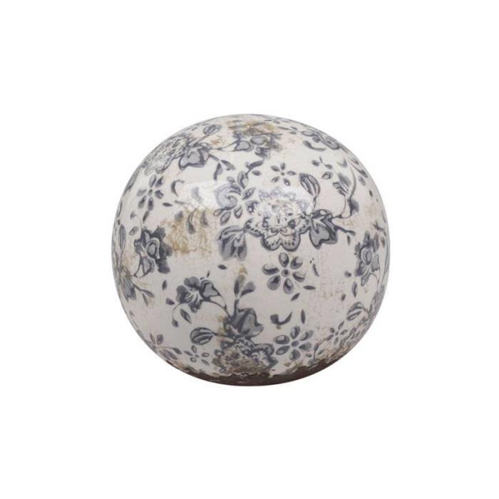 Magnifique Grande Boule Décorative Sphère Objet Déco à Poser en Terre Cuite Emaillée Blanche Motif Floral Bleu Ø15cm 15