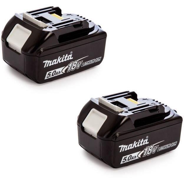 MAKITA Pack de 2 batteries 197288-2 avec témoin de charge - 18 V 5 Ah Li-ion