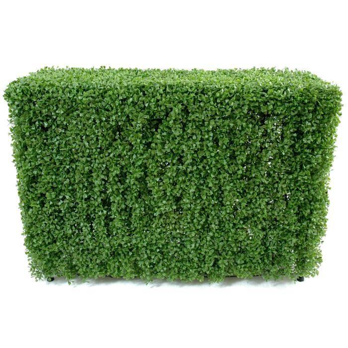 Plante artificielle haute gamme Spécial extérieur - Buis Haie artificiel coloris vert - Dim : 90 x 35 x 120 cm