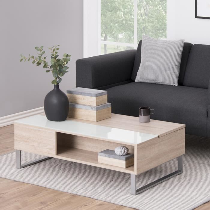 Table basse / Table de salon - KOSTRENA - 110x60 cm - chêne sonoma - style contemporain - plateau relevable -élément en verre trempé
