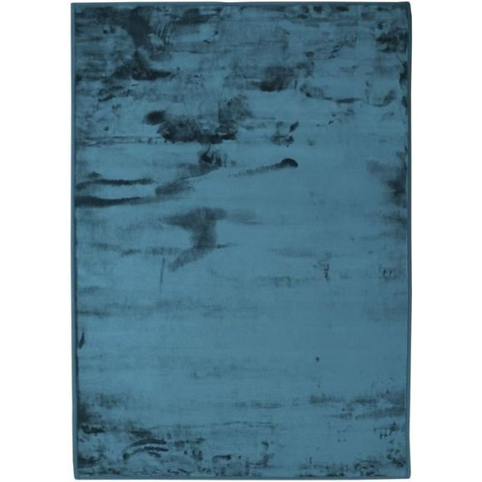 FLANELLE - Tapis extra-doux effet velours bleu foncé 160x230