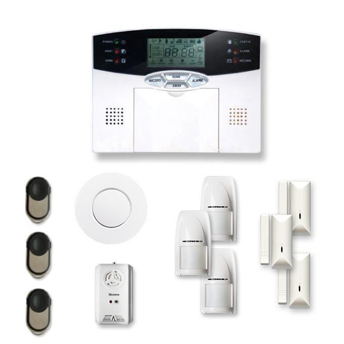 Alarme maison sans fil 3 à 4 pièces MN mouvement + intrusion + détecteur de fumée + gaz - Compatible Box Internet