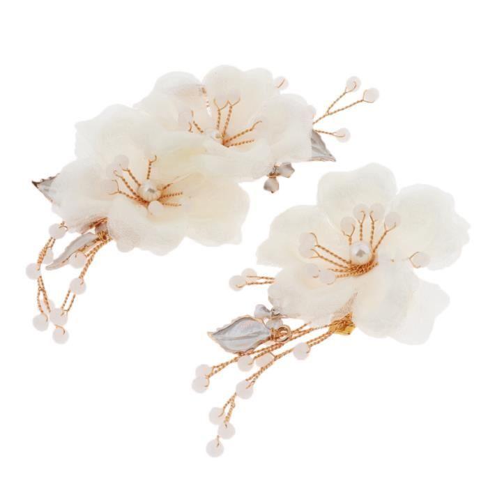 2 Pièces Pince à Cheveux Fleur Peigne à Cheveux de Mariée Barrette avec Perles pour Mariage Festival Partie Voyage gazechimp