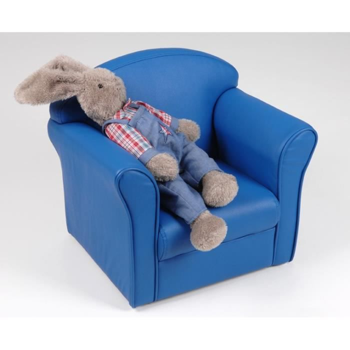 fauteuil club enfant simili cuir bleu fonc amadeu achat vente fauteuil b. Black Bedroom Furniture Sets. Home Design Ideas