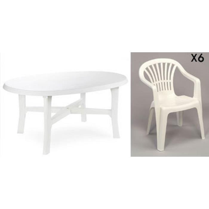 Table ovale blanche + 6 fauteuils jardin plastique blanc empilables