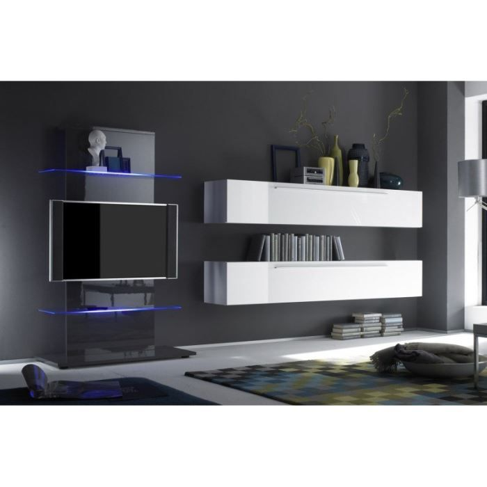 Ensemble tv laqu lumino 3 avec clairage achat vente for Meuble tele suspendu design
