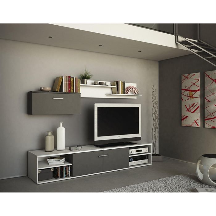 banc tv et rangement mural design zen achat vente meuble tv banc tv et rangement mural. Black Bedroom Furniture Sets. Home Design Ideas
