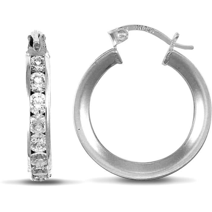 Jewelco Londres 9K blanc cz or 4mm éternité boucles doreilles 17mm