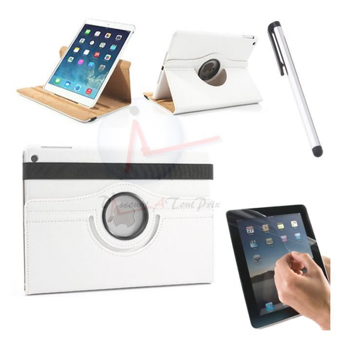 housse coque etui cuir blanc pour ipad air 2 rotative 360 stylet film prix pas cher. Black Bedroom Furniture Sets. Home Design Ideas