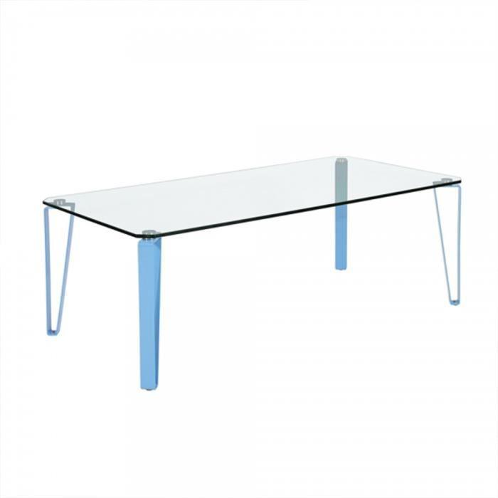TABLE BASSE Table basse rectangulaire en verre et métal coloré