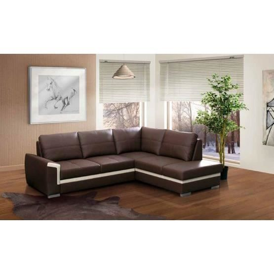 canap angle convertible vito marron blanc droit achat vente canap sofa divan cuir. Black Bedroom Furniture Sets. Home Design Ideas