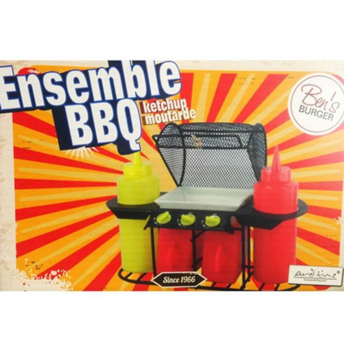 SALIERE - POIVRIERE PRESENTOIRE SAUCE BARBECUE KETCHUP MOUTARDE USTENS
