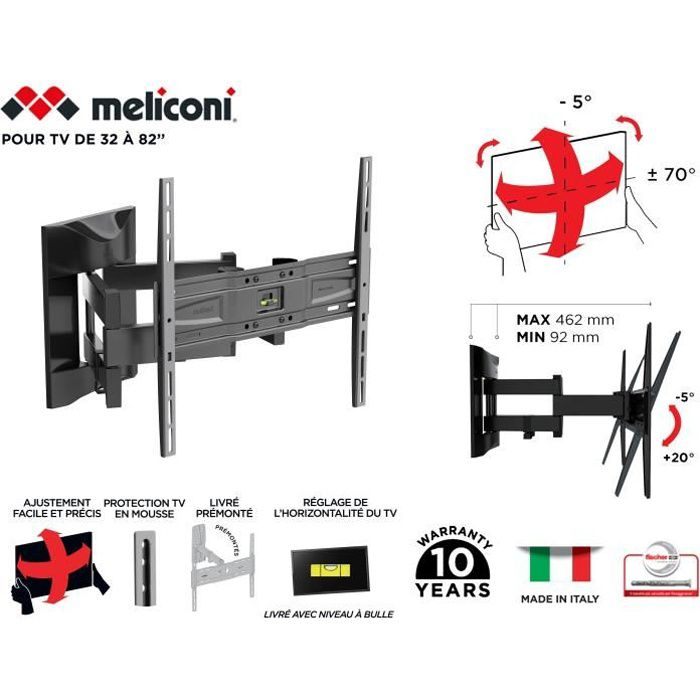 FIXATION - SUPPORT TV MELICONI 480866 Support mural TV pantographe Slim