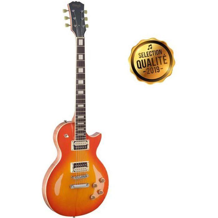 STAGG Guitare Electrique LP SEL-ZEB-HB Miel