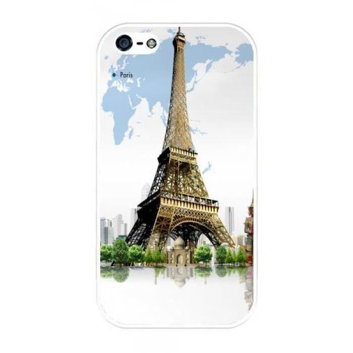 Coque Iphone 4-4S - Tour Eiffel - carte du monde - 1216 ...