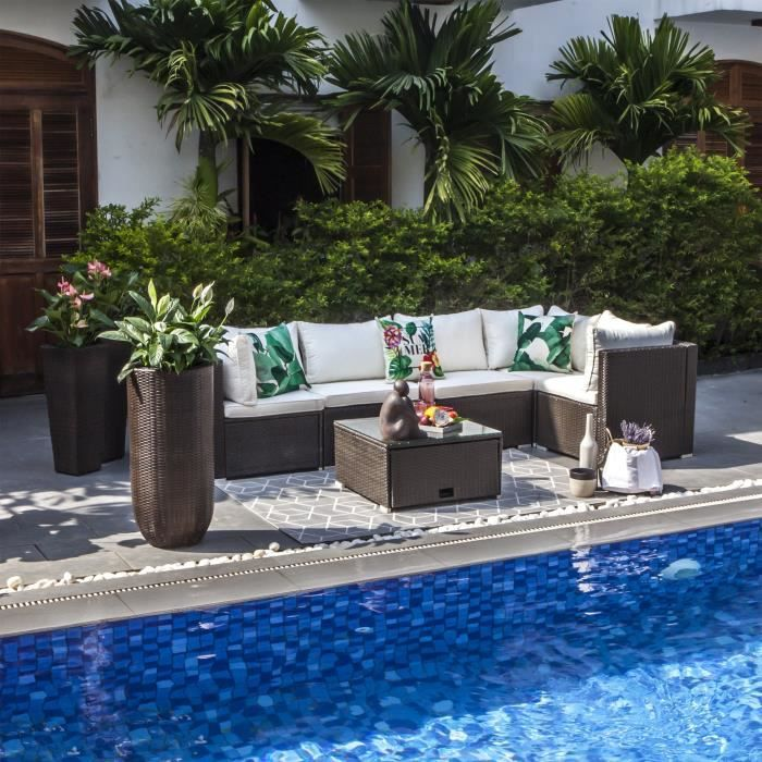 Salon de jardin tresse blanc