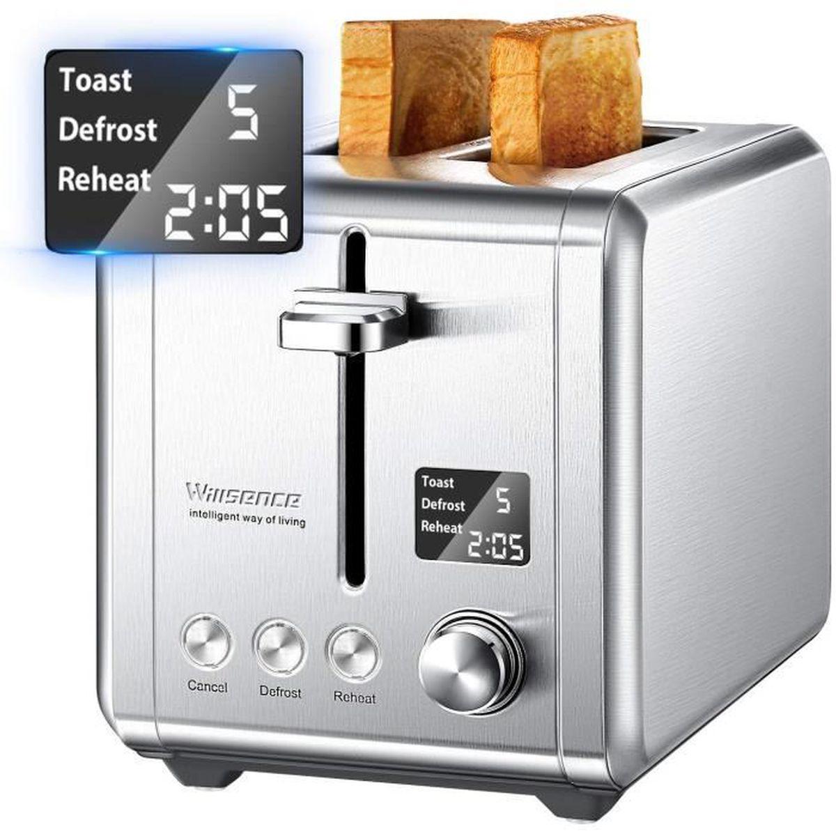 fente extra large en acier inoxydable pour gaufres /à pain beige grille-pain en acier inoxydable avec annulation fonction d/égivrage Grille-pain /à 2 tranches