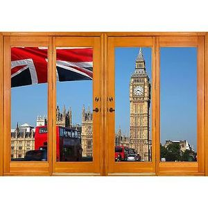Sticker fenêtre trompe l/'oeil Londres 80x100cm F512