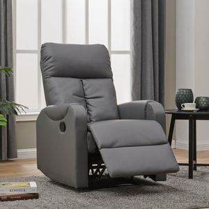 FAUTEUIL Fauteuil relax simili cuir gris Rayel