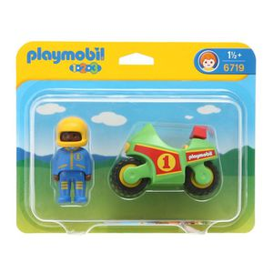UNIVERS MINIATURE PLAYMOBIL 1.2.3. 6719 Pilote Moto de Course
