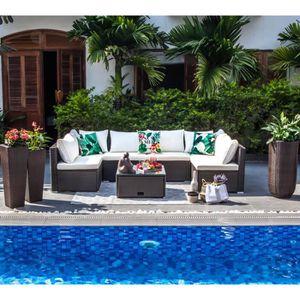 SALON DE JARDIN  SYMI Salon de jardin en résine tressée 5 places -