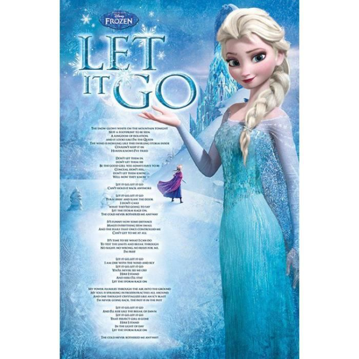 la reine des neiges poster - elsa, let it go (9… - achat / vente