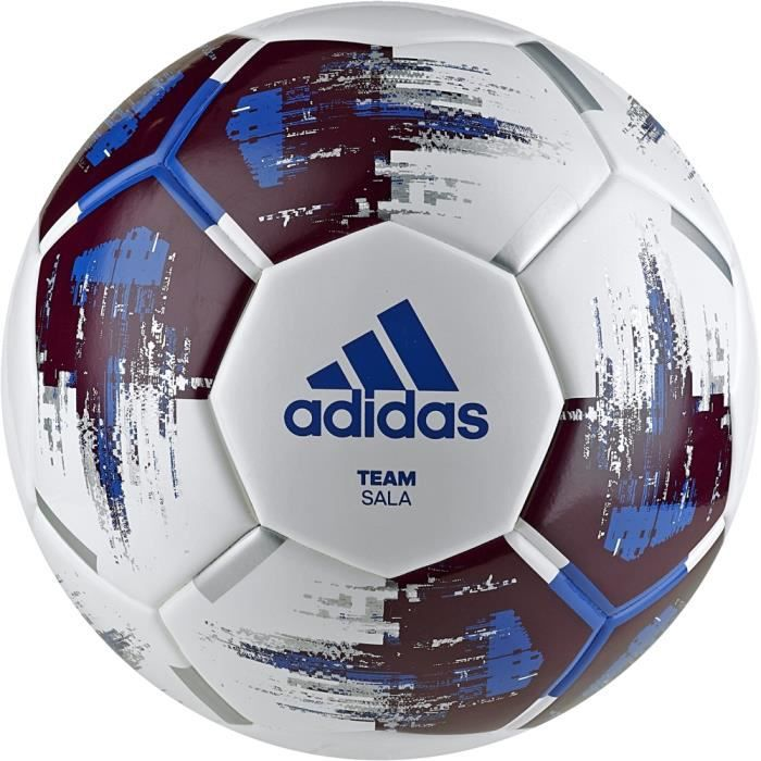 Ballon adidas Team Sala Futsal - blanc-marron-bleu - Taille 4 (futsal)
