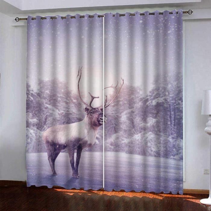 Rideau Salon Occultant Thermiques Imprimé Cerf De Forêt d'hiver 3D Rideaux À Oeillets Et Draperies Intérieurs 60x120cm[812]
