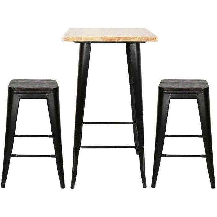 Table Haute table carrée industriel - métal acier et bois - Table de Bistrot Cuisine Bar - Noir