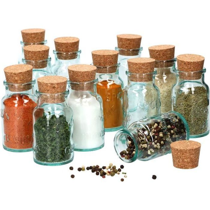 12 pots à épices ronds 125 ml + couvercle en liège naturel I pots en verre noble avec relief en verre I récipient de stockage pour
