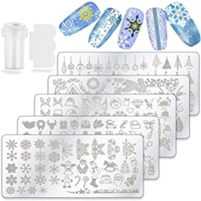 5 Noël Nail Art Stamping Kit, Plaque Stamping Nail Art Plaques Père Noël Flocon De Neig Ongles Stamping Avec Stamper Grattoir Pour F