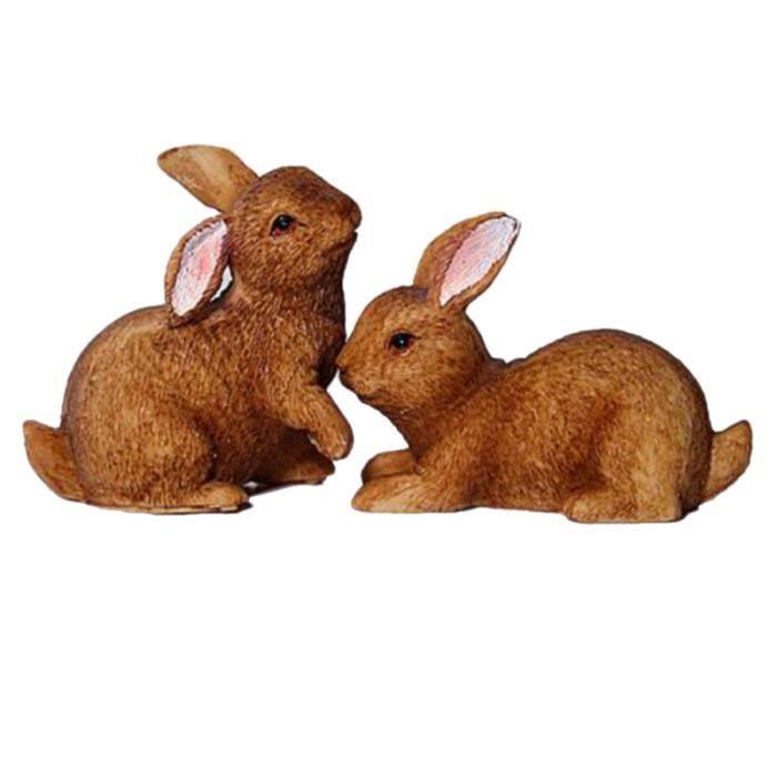 2pcs mini lapins kits d'animaux en résine pour paysage extérieur décoration de plantes de jardin de fées STATUE - STATUETTE