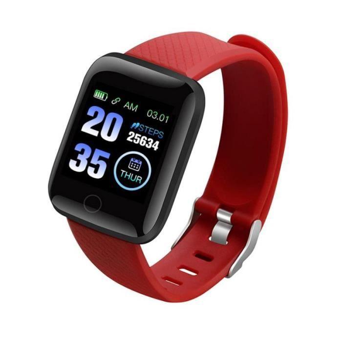 Podomètre,116 Plus Bracelet de bande intelligente Bluetooth Sport Bracelet de montre couleur écran étanche fréquence - Type Red