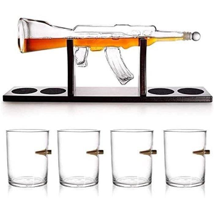 Grand carafe à décanter réutilisable en forme de pistolet avec 4 verres à whisky et base en acajou 458