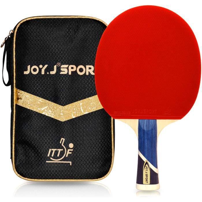 Raquette de Tennis de Table Professionnelle avec étui, Approuvé par ITTF Pingpong Raquette Paddle avec 9-Ply Bois et 8 Couches Lame