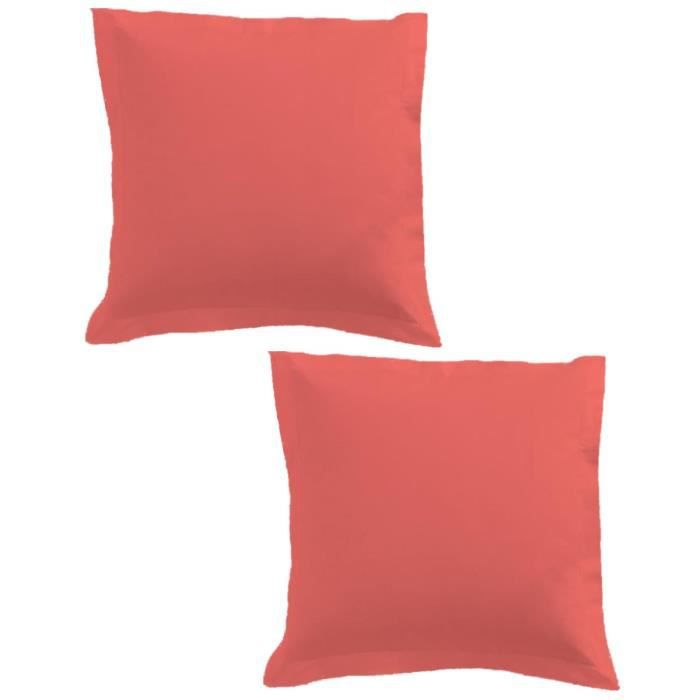 TODAY Lot de 2 taies d'oreiller 75x75cm Corail