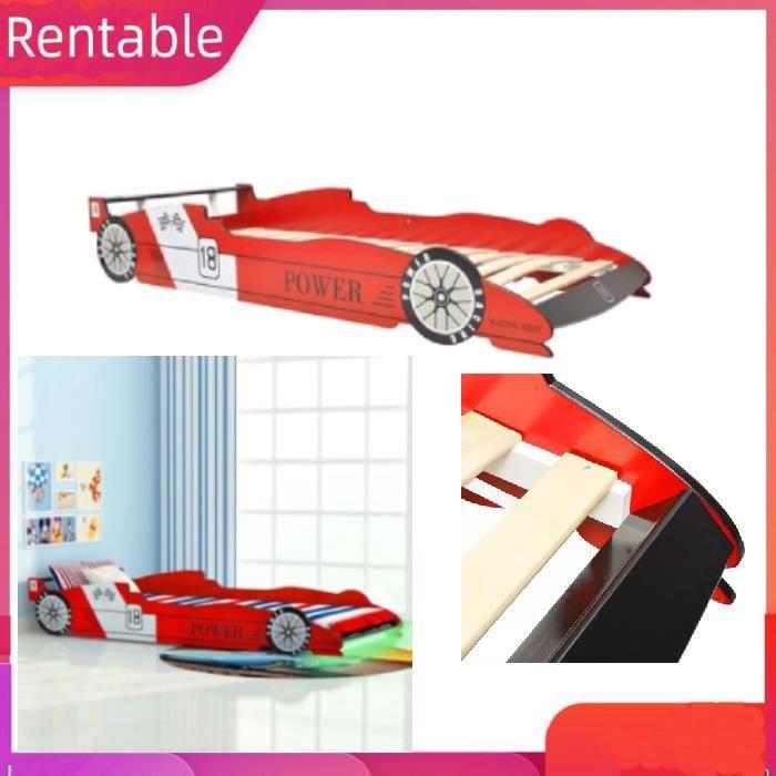 Lit voiture de course pour enfants avec LED 90 x 200 cm Rouge cadre en MDF + lattes en bois HB067 9424139559719