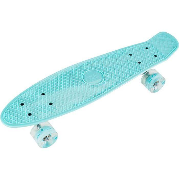HyperMotion Skateboard Enfants & Ados - Panneau Rétro 56*15cm Roulements ABEC-7 Roues LED Dureté 80A - 100% Caoutchouc Turquoise