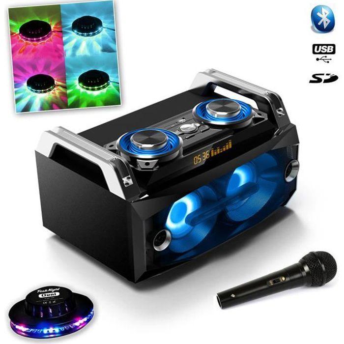 Système portable SPLBOX 120W USB SD FM Bluetooth + Micro Noir Dj karaoké + Effet UFO OVNI