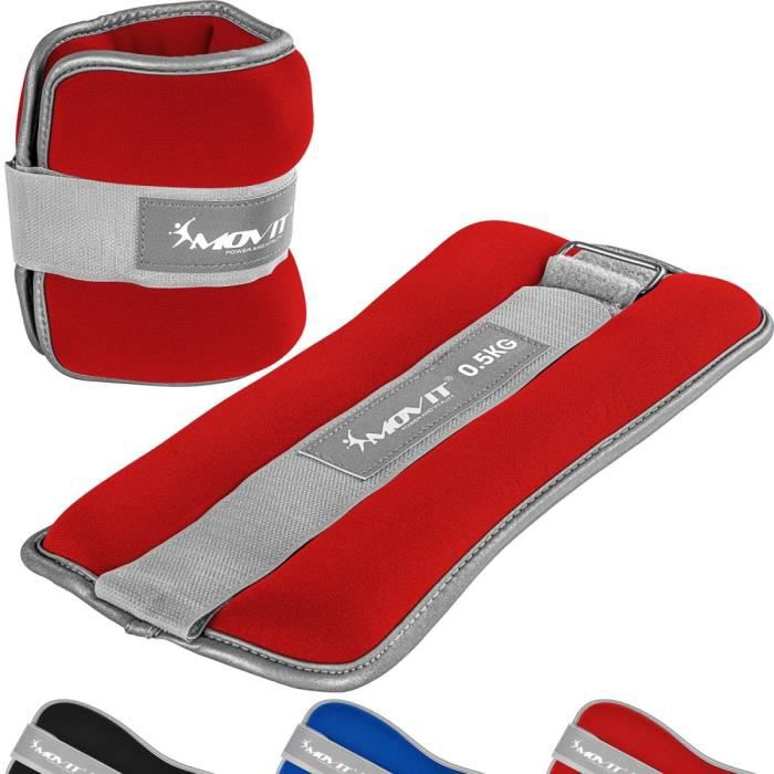 MOVIT Bandes lestées pour poignets et chevilles 2x0,5kg, néoprène rouge