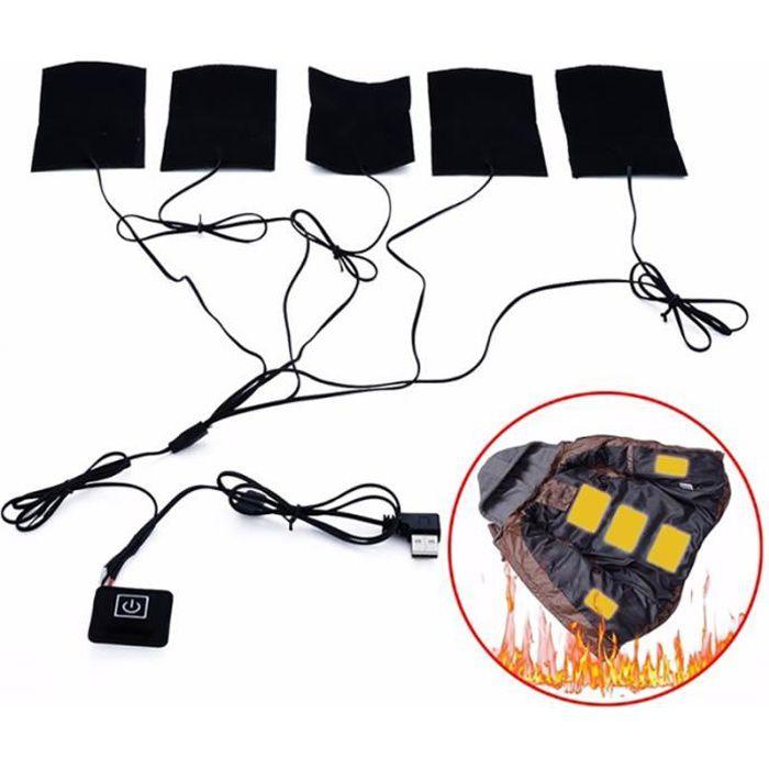 USB 1-for-5 Chauffage électrique thermique Vêtements de Veste chauffante pour Winter Sports de plein air