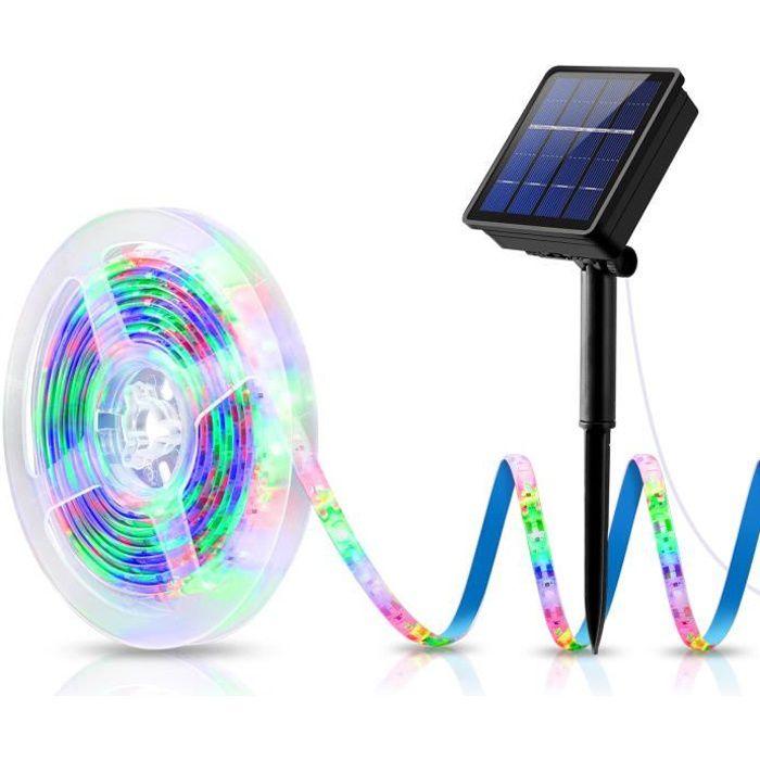 Noël Solaire Ruban Lumineux LED 3 M Multicolore 180 LED Bande Flexible Lumineux, 8 modes d'éclairage - Multicolore