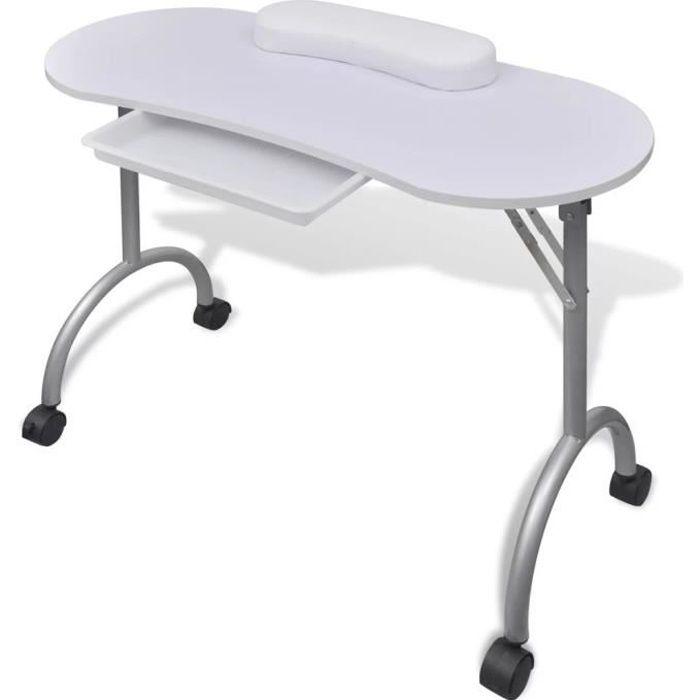 Table de manucure cosmétiques pliante 90 x 37 x 68 cm beauté table de travail informnatique avec roulettes pour ongles-blanc