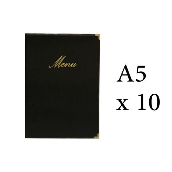 Lot 10 protège-menu Classique format A5 couleur noir - Porte menu hôtel restaurant - Securit 5 Noir