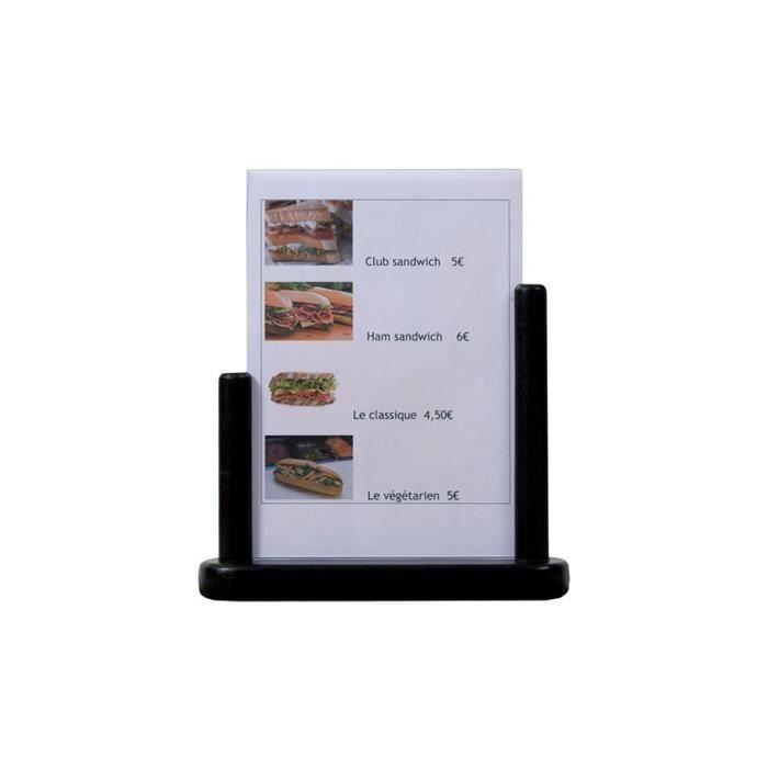 Porte-menu de table cadre bois coloris Noir recto / verso - PFT-BL-ME A5 Plexi