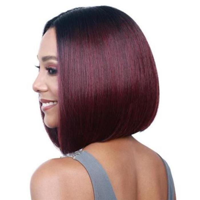 Perruque Cheveux Humain Femme Naturels Courte Longueur:38-41cm Style Bob front wig Perruque Rouge Vineux