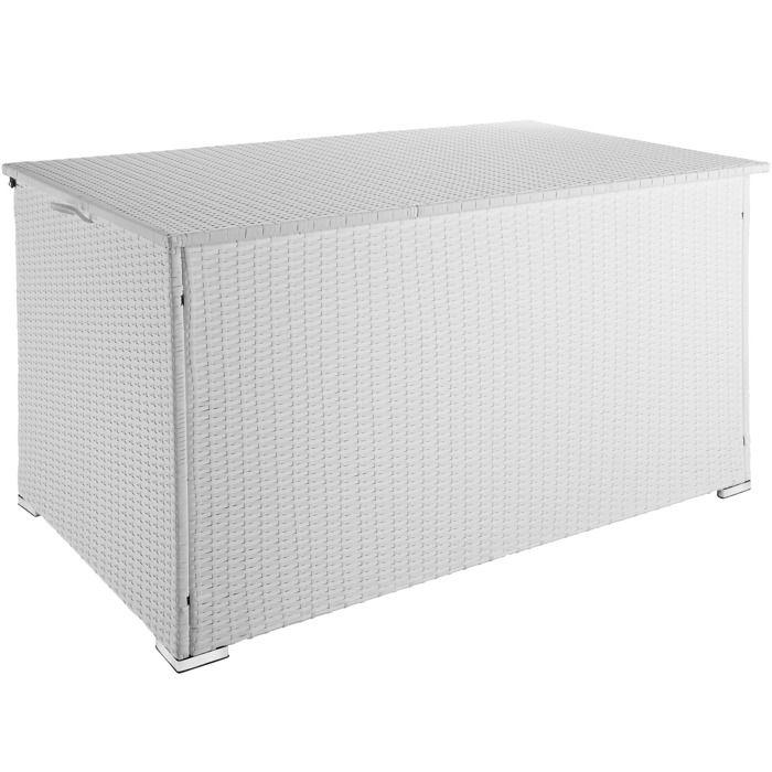 TECTAKE Coffre de Jardin de Rangement extérieur 750 L en Résine tressée et Aluminium Blanc