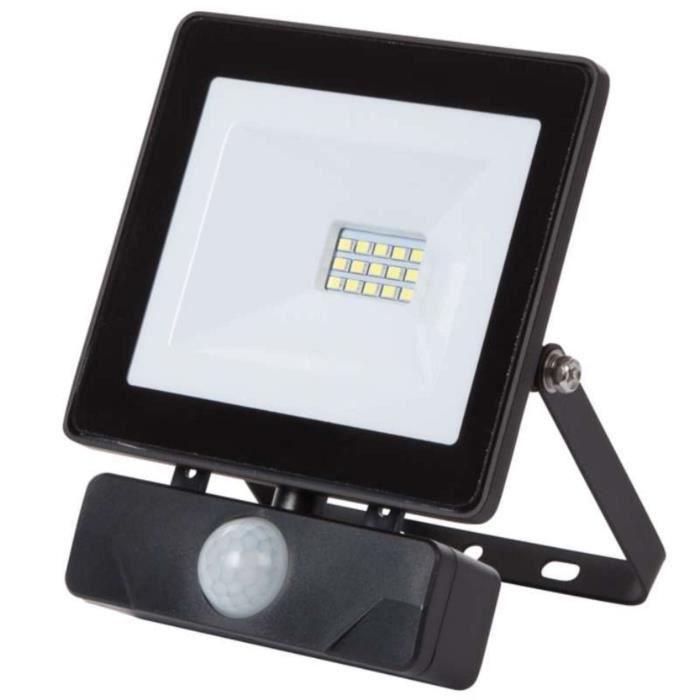 Projecteur plat noir 10w led avec radar